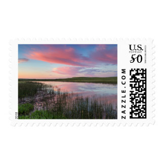 Prairie Pond Reflects Brilliant Sunrise Clouds Postage