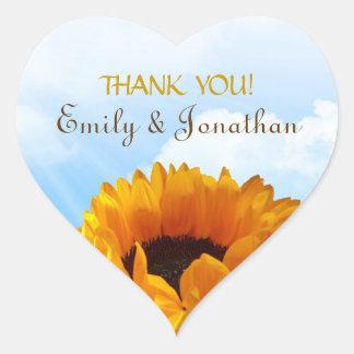 Prairie Sunflower Thank You Heart Sticker