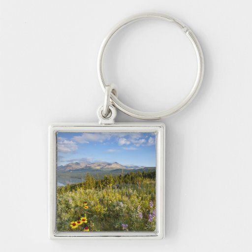 Prairie wildflowers and Lower Two Medicine Lake Silver-Colored Square Keychain