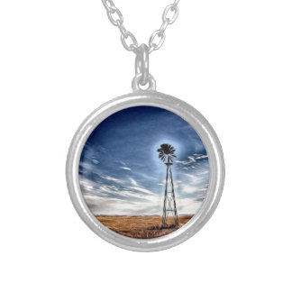 Prairie Windmill photo art Round Pendant Necklace
