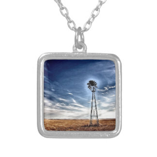 Prairie Windmill photo art Square Pendant Necklace