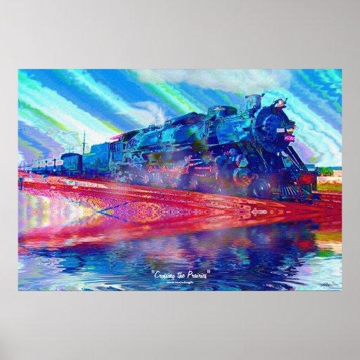Prairies Steam Train Modern Painting on a Poster