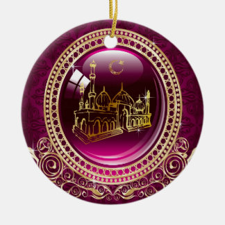 Praise Be To Allah, Mosque Double-Sided Ceramic Round Christmas Ornament