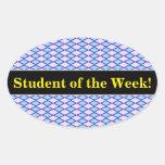[ Thumbnail: Praise + Blue and Pink Diamond Shape Pattern Sticker ]