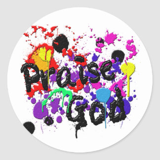 Praise God Paint Splatters Christian Wear Classic Round Sticker