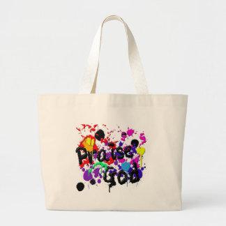 Praise God Paint Splatters Christian Wear Large Tote Bag