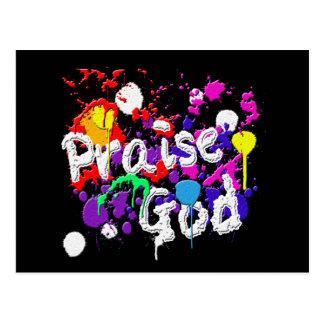 Praise God Paint Splatters Christian Wear Post Card