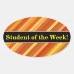[ Thumbnail: Praise + Goldfish-Inspired Colored Stripes Pattern Sticker ]