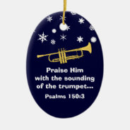 Praise Him With Trumpet Biblical At Christmas Ceramic Ornament at Zazzle