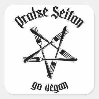 Praise Seitan 1.1 (black) Square Sticker