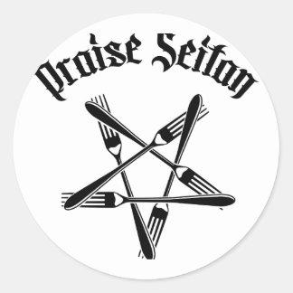Praise Seitan 1.2 (black) Classic Round Sticker