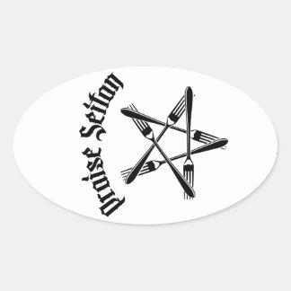 Praise Seitan 1.2 (black) Oval Sticker