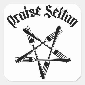 Praise Seitan 1.2 (black) Square Sticker