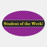 [ Thumbnail: Praise + Simple Fuchsia & Black Stripes Pattern Sticker ]