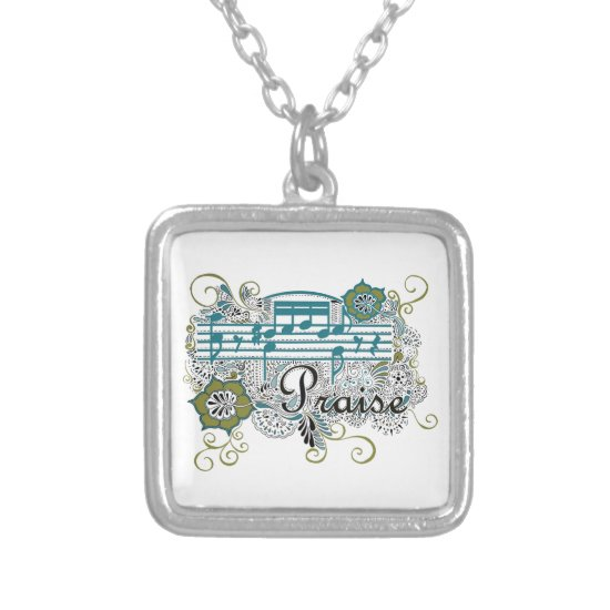 Praise with Musical Notes Silver Plated Necklace