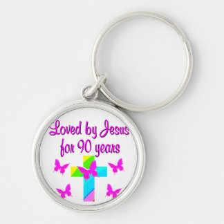 PRAISING GOD 90TH BIRTHDAY KEYCHAIN
