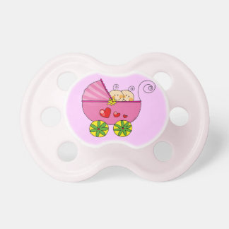 Pram & baby girl twins pacifier