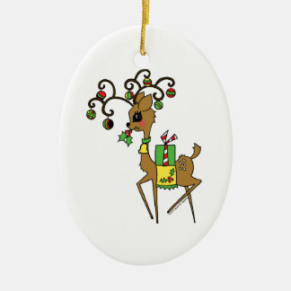 Prancer Double-Sided Oval Ceramic Christmas Ornament