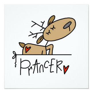 Prancer Reindeer Christmas T-shirts and Gifts Invitation