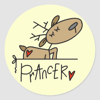 Prancer Reindeer Tshirts and Gifts Round Stickers