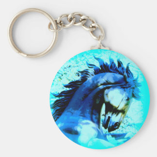 prancing blue mustang keychain
