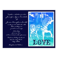 Prancing Carousel Horse Blue Wedding Invitations