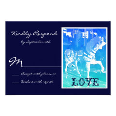 Prancing Carousel Horse Blue Wedding RSVP Cards
