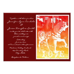 Prancing Carousel Horse Red Wedding Invitations