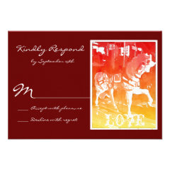 Prancing Carousel Horse Red Wedding RSVP Cards