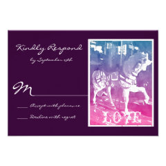 Prancing Carousel Horse Wedding RSVP Cards