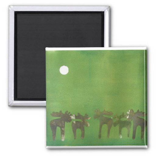 Prancing Deers 2 Inch Square Magnet