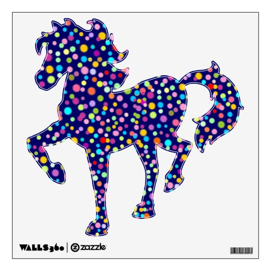 Prancing Horse (with colorful dots 2) Wall Sticker