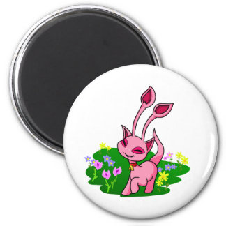 Prancing pink Aisha through flowers 2 Inch Round Magnet