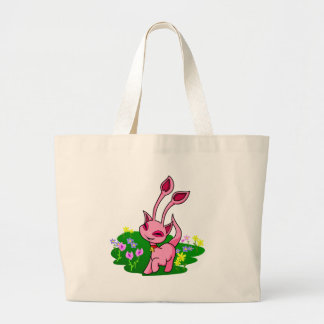 Prancing pink Aisha through flowers Canvas Bags