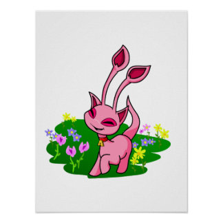 Prancing pink Aisha through flowers Posters