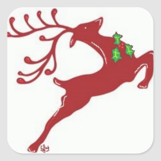Prancing Prancer Square Sticker