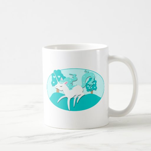 Prancing Unicorn in green forest Classic White Coffee Mug