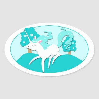 Prancing Unicorn in green forest Oval Stickers