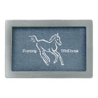 Prancing Wild Horsie rectangular Belt Buckle