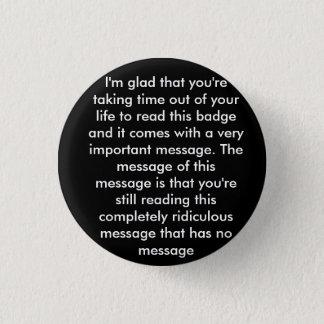 Prank 'message' badge pinback button
