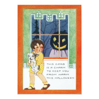 Prank Scared Girl Jack O Lantern Dog Pumpkin Card