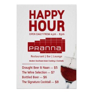 Pranna Happy Hour Poster Lighter Red Jul-23