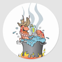 prawn boil classic round sticker