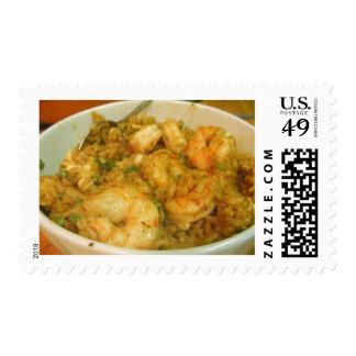 Prawn Fried Rice Shrimp Bowls Postage Stamps