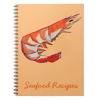 Prawn shrimp seafood kitsch art notebook