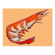 Prawn shrimp seafood kitsch art postcard