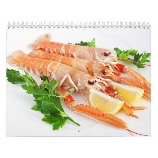prawns with lemon and parsley wall calendar