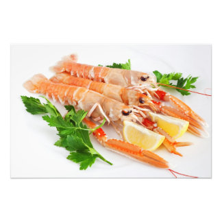 prawns with lemon and parsley photo print