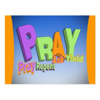 PRAY ACRONYM - PRAY REPENT ASK YIELD POSTCARD
