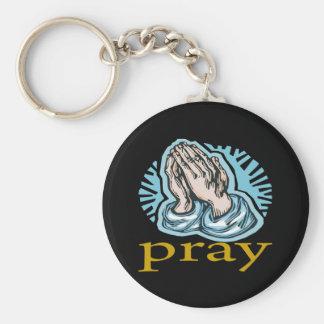 Pray Basic Round Button Keychain